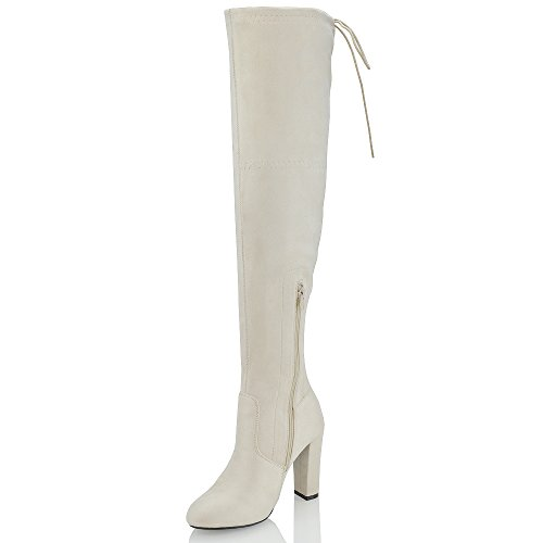 ESSEX GLAM New Womens Thigh High Boots Ladies Over The Knee Stretch Evening Block Mid Heel Beige Faux Suede cH5oZs2