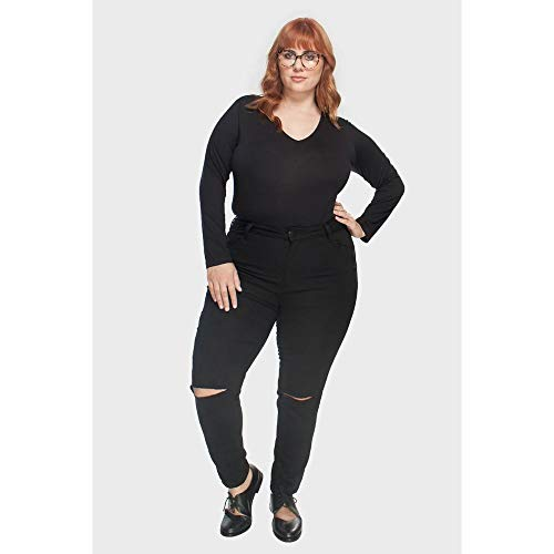 Calça Skinny Recorte Plus Size Preto-60