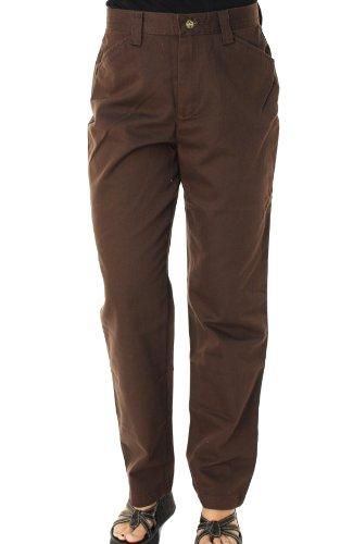 Casual Pants Misses (LEE Jeans Women's Riders Eased Fit Misses Flat Front Casual Slacks Brown-16M Brown)