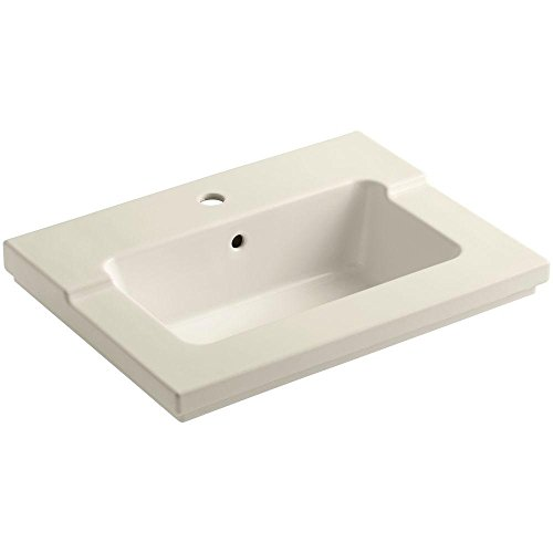 KOHLER K-2979-1-47 Tresham One-Piece Surface and Integrated Bathroom Sink with Single-Hole Faucet Drilling, -