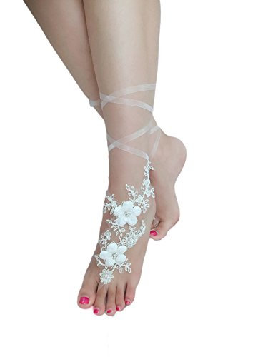 ASA Bridal Summer Crochet Barefoot Sandals Lace Anklets Wedding Prom Party Bangles (Flora ivory)