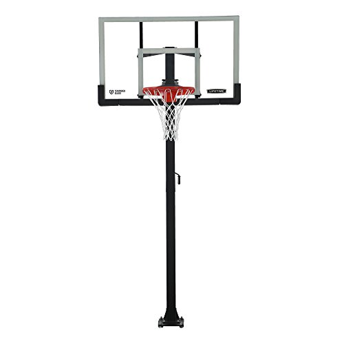 Lifetime Products Crank Adjust In Ground Basketball Tempered Glass Backboard, 54