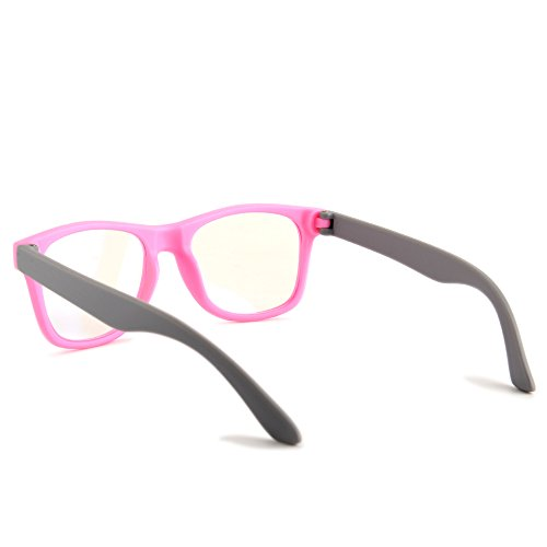 Gudzws Kids Anti Blue Light Glasses Rectangle Plastic Frame Protect Eyesight from Digital Display Computer TV Boys Girls Child Unisex Pink (Suitable for 5-12 Years Old) by Gudzws (Image #3)
