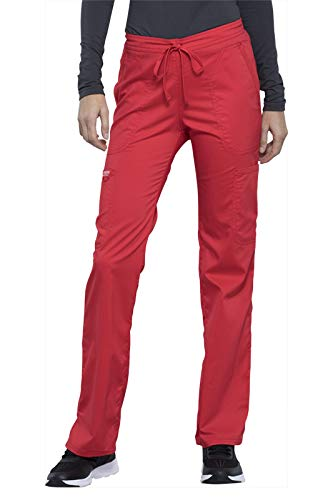 Cherokee Workwear WW Revolution Women's Mid Rise Moderate Flare Drawstring Pant (Hot Tomato, X-Large Petite)