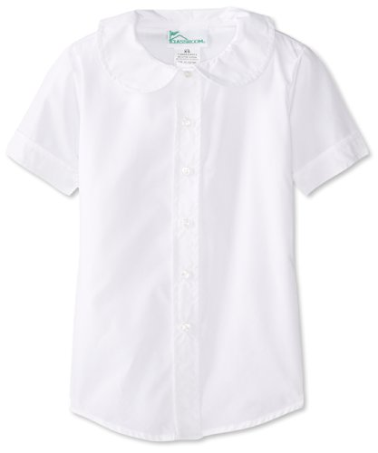 Girls Short Sleeve White Blouse (CLASSROOM Big Girls' Blouse, White, Large)