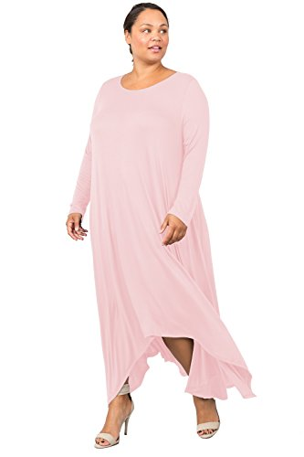 Love In D6190C-PX Long Sleeve Round Neck Flared Maxi Dress W/Pocket Blush 3X by Love In (Image #3)