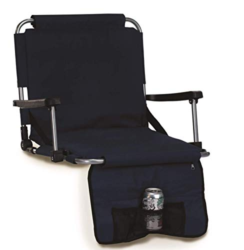 Picnic Plus Stadium Seat with Arms, Straps to Bench & Bleachers Navy ()