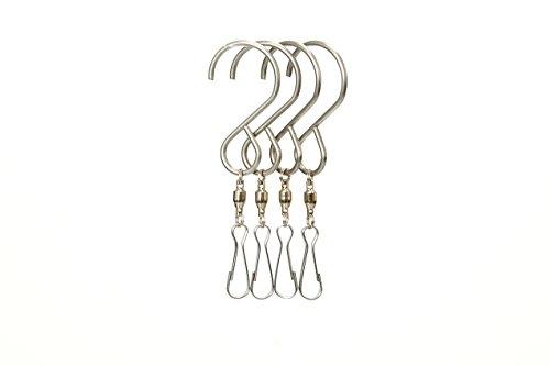 Safe Buy Enjoy Spinning Swivel Clip Hanging S Hooks Wind Spinner Rotate Spiral Tail Crystal Twister Display Hanger (4) ()
