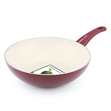 GreenLife 11 Inch Ceramic Non-Stick Wok with Soft Grip, Red