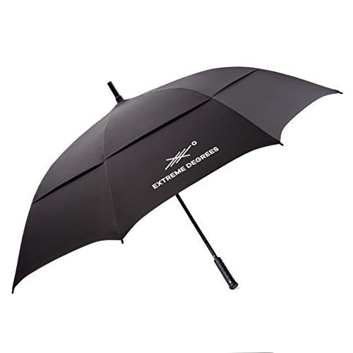 Extreme Degrees Golf Umbrella. Windproof with Weatherproof Coating. 62 Inch Canopy. (Black)