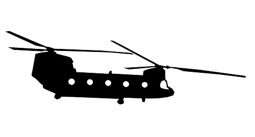 Auto Vynamics - MILITARY-PLANECHOPPER09-5-MBLA - Matte Black Vinyl Military Plane/Helicopter Silhouette Decal - Boeing CH-47 Chinook Helicopter Design - 5-by-1.5-inches - (1) Piece Kit - Single Decal (Ch Plane)