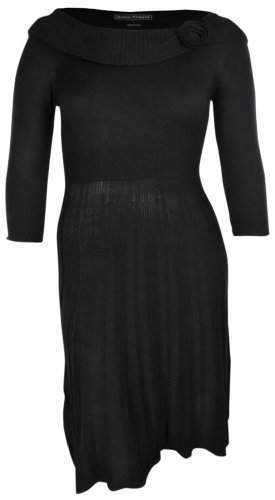 Jessica Howard Women's Rosette Knit Sweater Dress (L, Black)