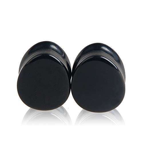 HQLA 1 Pair Teardrop Black Obsidian Natural Stone Plug Tunnels Ear Gauges Expanders Stretcher Body Piercings (7/8