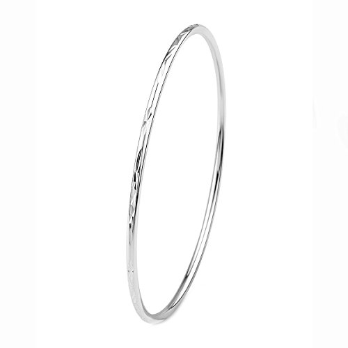 Merdia 925 Sterling Silver Stackable Bangle Bracelet with Simple Carved Flower Patterns 6cm