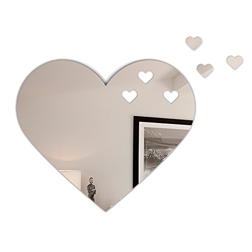 Fab Glass and Mirror MRHRT3OUT-20X30 Heart Shape Frameless Wall Mirror with 3 Croped - Mirror Shape Heart