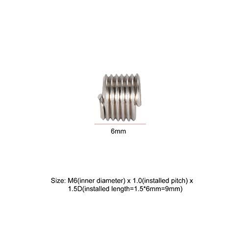 50 ST/ÜCKE Gewindeeins/ätze M6 1,0 1,5 D Edelstahl Draht Helicoil Befestigungen Hardware Reparatur Werkzeuge Schraubh/ülse Set-Silber-1 Gr/ö/ße