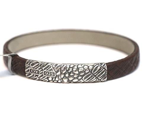 David Yurman 10mm Sterling Silver & Brown Gator Leather Bracelet Medium (David Yurman Id Bracelet)