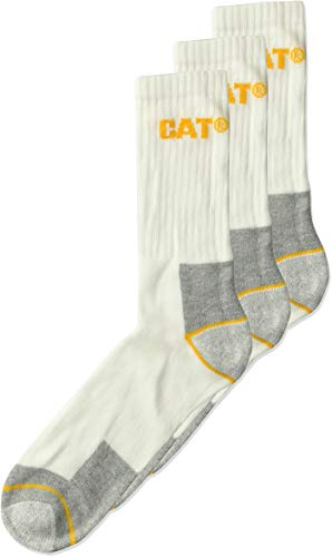 Caterpillar Men's Real Work Sock 3 Pack, White, Sock Size: 10-13/Shoe Size:9-11 from Caterpillar
