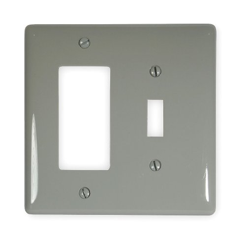 Duplex Hubbell Wiring Device (Hubbell Wiring Systems NPJ126GY Wall Plate, Nylon, Mid-Sized, 2-Gang, 1 Toggle, 1 Duplex, Gray)