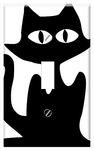 Switch Plate Single Toggle - Cat Halloween Black Silhouette Spooky Animal Pet 1 ()
