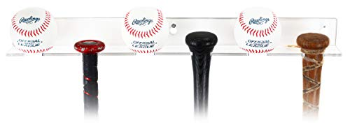 3 Baseball Bats and Balls Combo Vertical Display Wall Mount Clear Acrylic Bracket (A065A)