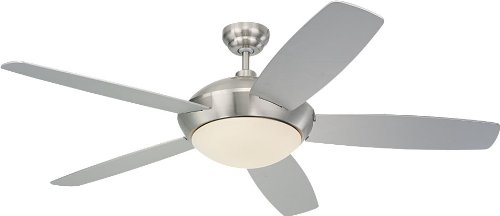 Monte Carlo 5SLR52BSD-B Flush Mount, 5 White Cream Blades Ceiling fan with 64 watts light, Brushed Steel