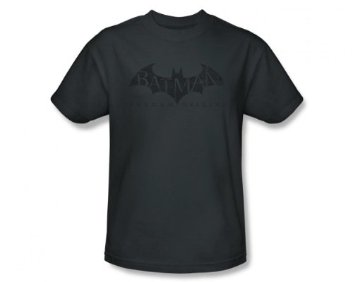 Batman Arkham Origins - Men's T-Shirt Crackle Logo, XL, Charcoal