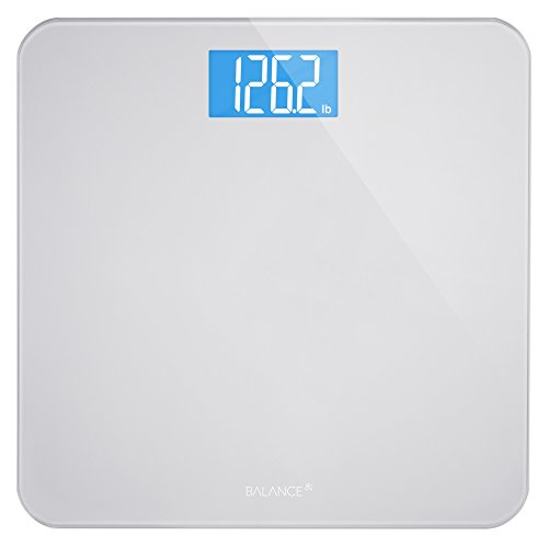 Digital Body Weight Bathroom Scale by GreaterGoods, Large Glass Top, Backlit Display, Precision...
