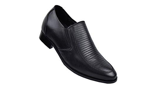 Chaussure Zerimar Avec Élévation Interne Pour Les Hommes Augmentation De 7 Cm En Cuir De Haute Qualité Couleur Noir Taille 42