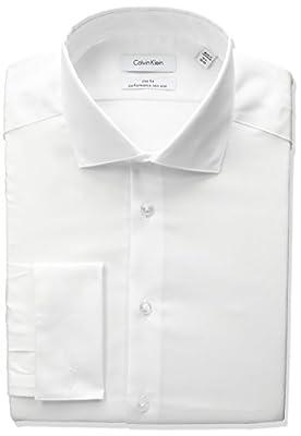 Calvin Klein Men's Non Iron Slim Fit Herringbone French Cuff Dress Shirt