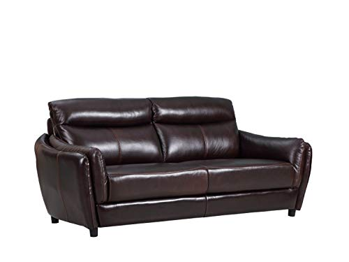 Blackjack Furniture 9778-BROWN-S Troy Classic Top Grain Leather Living Room Sofa, 82