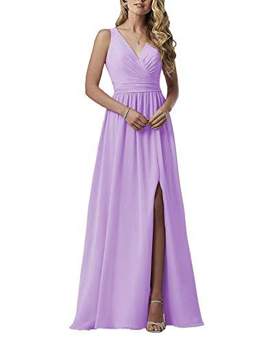 (YageDress Beaded Pleat Chiffon Bridesmaid Dress 2019 with Slit for Women V-Neck Evening Party Gown Lilac 16)
