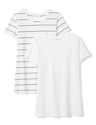 Amazon Brand - Daily Ritual Women's Featherweight Cotton Short-Sleeve Crew Neck T-Shirt, White/Black-White Wide Stripe, Medium