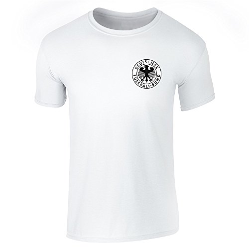 Germany Soccer Retro National Team White L Short Sleeve T-Shirt (Soccer 1974 Cup)
