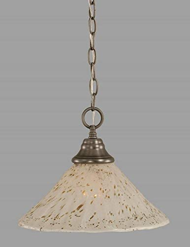 1 Light Any Chain Pendant Finish Brushed Nickel, Size 12 W, Shade Color Gold Ice Glass