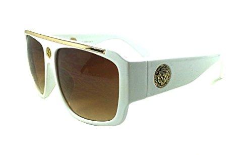 (White & Gold Kleo Flat Top Hip Hop Rapper Retro Aviator Sunglasses w/ Brown Lenses)