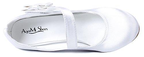 Mujer Hebillas Stiletto Shoes Fiesta Tacón Raso Blanco Ageemi Boda Zapatos qpAw54I