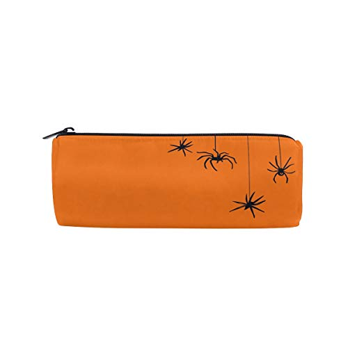 Thomas Eugene Halloween Spiders Pumpkin Color Printed Pencil Case Stationery Pouch For Students(8 x 3 x 3in) ()
