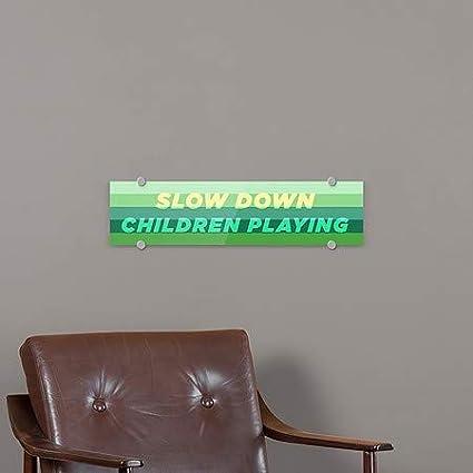 Slow Down Children Playing 24x6 5-Pack Modern Gradient Premium Acrylic Sign CGSignLab