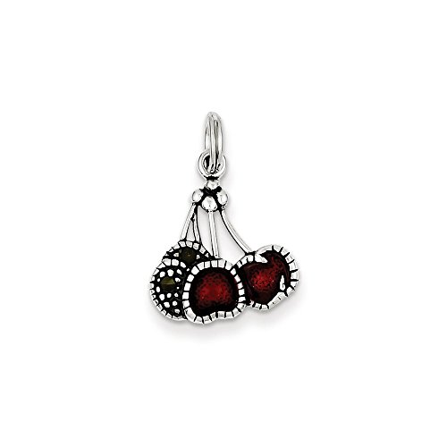 Q Gold Jewelry Pendants & Charms Themed Charms Sterling Silver Enameled Red Cherry Charm