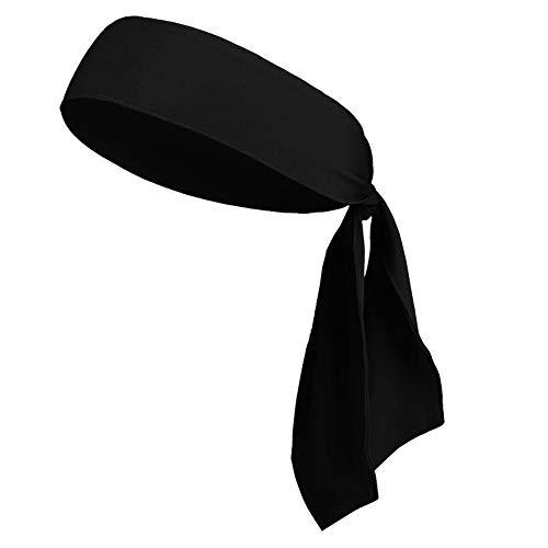 Head Tie Headbands for Men Women Kids Girls Boys, Sports Headbands No Slip for Karate Tennis Softball Pirate Workout Soccer (1Pack Black)]()