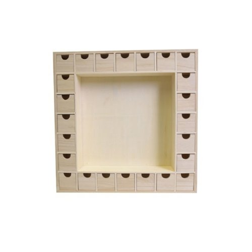 Artemio 14001541 Wooden Advent Calendar Square with Drawers To Decorate-39cmx 39.5cmx 6.5Cm