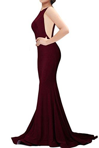 Women's Sexy Mermaid V Neck Deep Back Long Evening Prom Dresses, Burgundy,...
