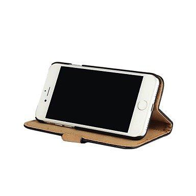 Fundas y estuches para teléfonos móviles, Para el iphone 7 7 más la cubierta del cuerpo del cuero sólido del color de la cubierta del caso con la caja de la tarjeta y del soporte ( Color : Amarillo ,  Negro