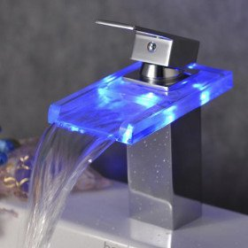 Color Changing Led Waterfall Bathroom Sink Faucet Chrome Finish