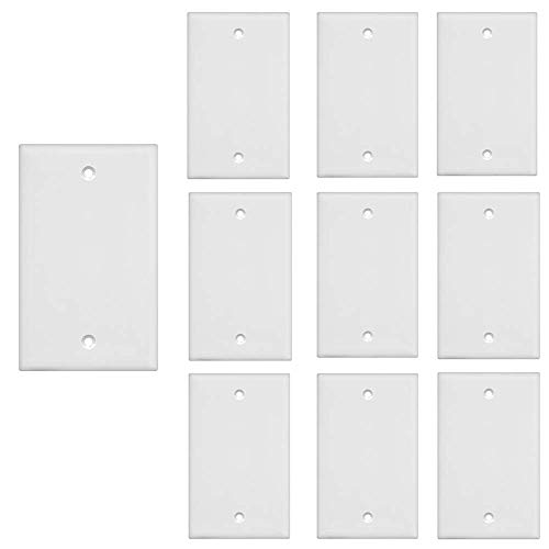 [UL Listed] VCE 10 Pack Blank Device Wall Plate, Standard Size 1-Gang No Device Blank Wallplate-White
