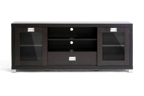 Baxton Studio Matlock Modern TV Stand with Glass Doors (Doors With Wood Stand Glass Tv)