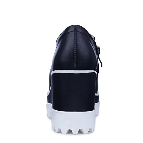 Girls Pumps Inside Heighten Shoes BalaMasa Leather Black Imitated Zipper zq4aPOR