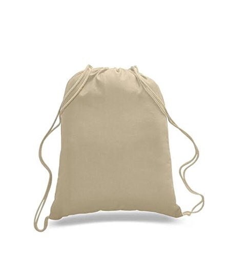 Natural Colors 100% Cotton Canvas Drawstring Bag Size:14 W 18H,100 Count by SHOPINUSA