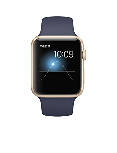 Apple Watch Sport Gold Aluminum Case with Band Midnight Blue 42 mm